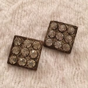 Two small square 1920s Art Deco dress clips pastes